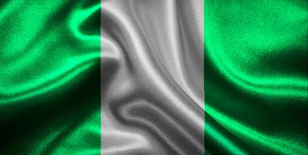nigerian: Nigerian flag fabric with waves