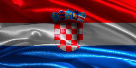 Croatian flag fabric with waves photo