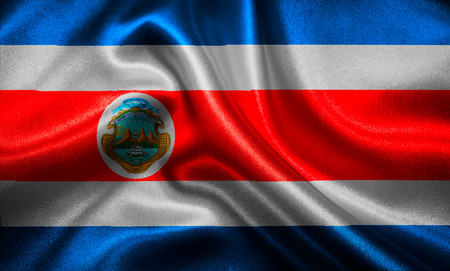 costa rican flag: Costa Rican flag fabric with waves