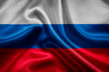 Russian flag fabric with waves