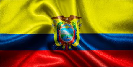 ecuadorian: Ecuadorian flag fabric with waves