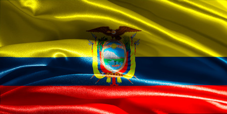 Ecuadorian flag fabric with waves