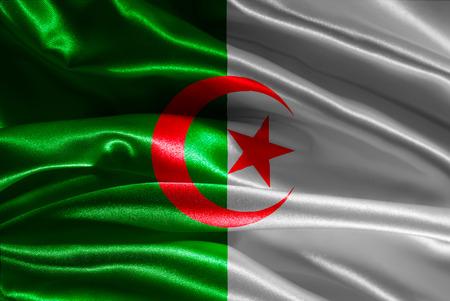 algerian flag: Algerian flag fabric with waves
