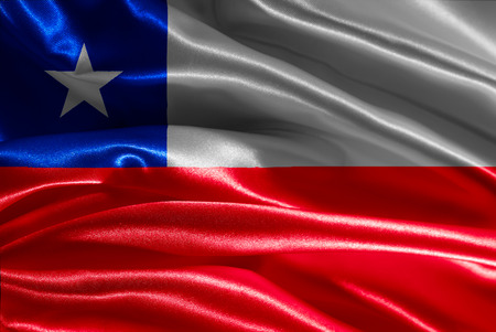 chilean flag: Tela de la bandera chilena con olas Foto de archivo