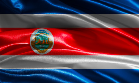 costa rican: Costa Rican flag fabric with waves