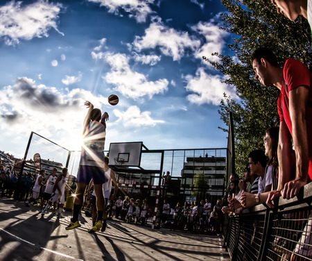 GIJON, SPAIN           Aug 2014:  Participants in the  3x3 Baloncesto en la Calle Gijon 2014 Final match. Spain. August 7, 2014.