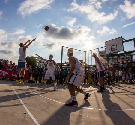 GIJON, SPAIN           Aug 2014:  Participants in the  3x3 Baloncesto en la Calle Gijon 2014 Final match. Spain. August 7, 2014.