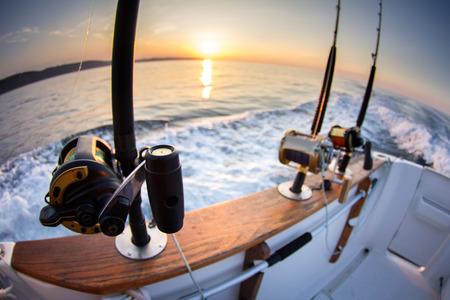 美しい曇りシースケープ以上ボート釣りロッド