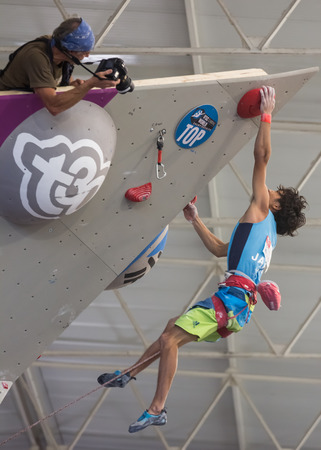 GIJON, SPAIN Sep 13 2014:   The Japanese climber Sachi Amma, who won the bronze medal in the IFSC World Climbing Gijon 2014  held in the spanish city of Gijon, from 8 to 14 September, 2014