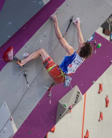 GIJON, SPAIN Sep 13 2014:   The Czech climber Adam Ondra, who won the gold medal in the IFSC World Climbing Gijon 2014  held in the spanish city of Gijon, from 8 to 14 September, 2014