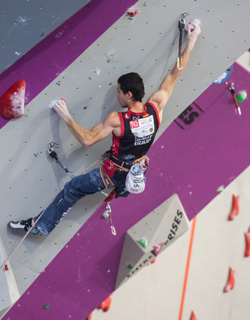 GIJON, SPAIN Sep 13 2014:  Spanish climber Ramón Julián Puigblanque, who won the bronze medal in the IFSC World Climbing Gijon 2014  held in the spanish city of Gijon, from 8 to 14 September, 2014