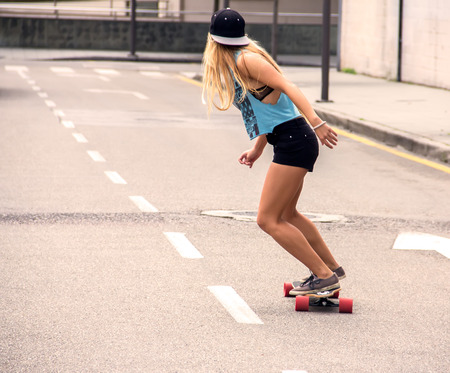Portrait of a beautiful skater girl Stock Photo