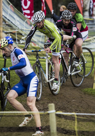 spain championship: GIJON, SPAIN Jan 10 2015:  Participants in the  Cyclocross Spain Championship 2015   held in the spanish city of Gijon, on 10 January, 2015