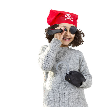 privateer: Portrait of a pirate little girl isolated on white