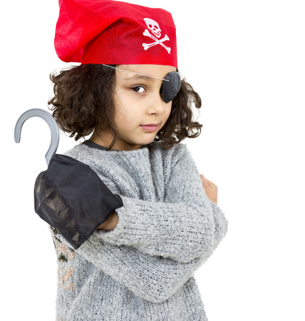Portrait of a pirate little girl isolated on white