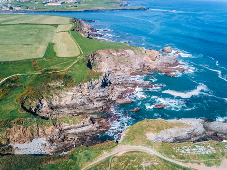 Aerial view of cliffs in Asturias, northern Spain