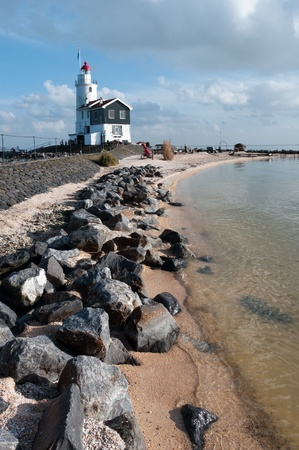 marken: lighthouse in tranquil scenery Stock Photo