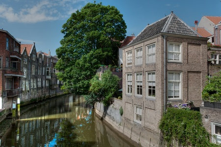dordrecht: characteristic old houses on canal
