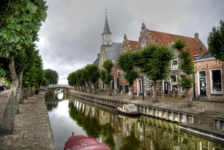 canal in old village sloten in Holland