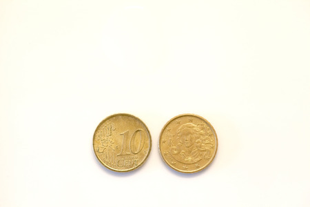 cent: 10 euro cent coin front and rear view