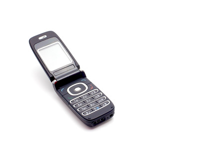 flip phone: old mobile telephone on a white background