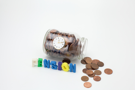 Pension coins in a glass jar with text and clock