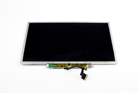 hardware repair: Second hand laptop screen spare part Stock Photo