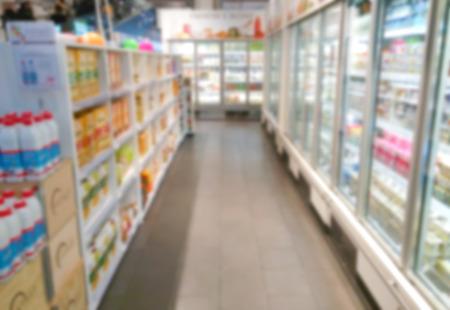 refrigerated: Blurry supermarket interior background refrigerated area