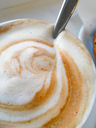 cappuccino foam: Italian Breakfast Cappuccino foam detail Stock Photo