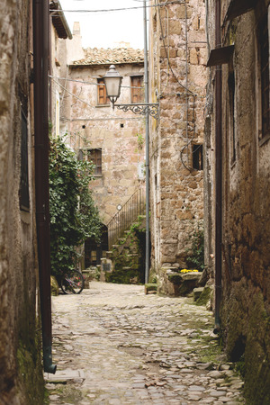 etrurian: Medieval Alleway in Calcata, Italy Stock Photo