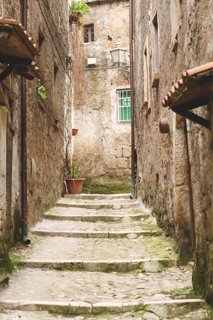 tuscia: Medieval stairway in Calcata, Italy