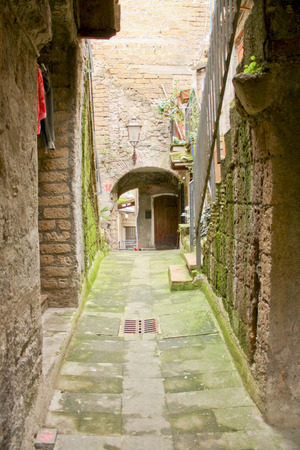 etrurian: Calcatas medieval alleway in winter Stock Photo