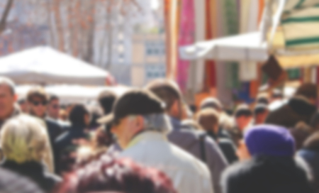 crowded street: Blurry background of a crowded street market Stock Photo