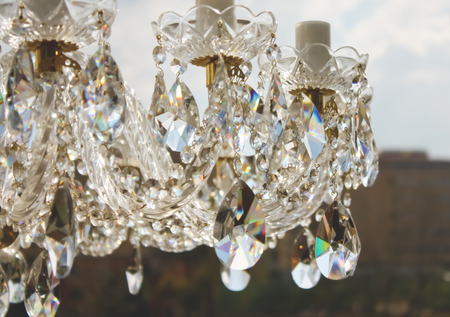 chandelier background: chandelier details daylight with blurred background Stock Photo
