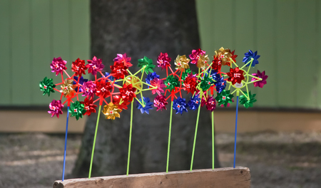 pinwheels: Pinwheels for sale in a public park