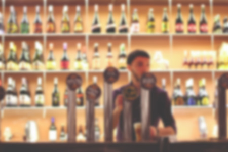 alehouse: Blurred Beer House background (interior) Stock Photo