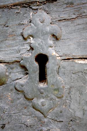 antique keyhole: Antique keyhole weathered and broken