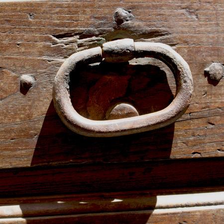 door handle: Old wooden door handle outside view