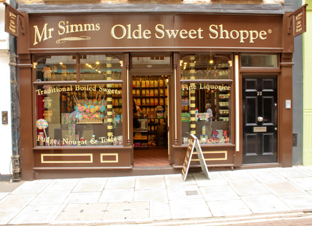 oldstyle: London, Uk - August 17, 2010: outside view of an oldstyle sweet shop in London Editorial