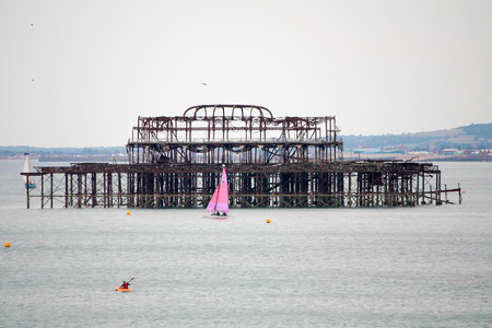 brighton: Abandoned Old Pier in Brighton Stock Photo