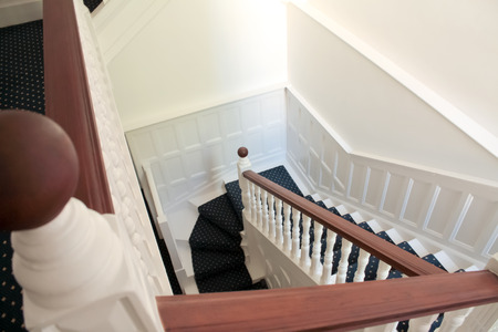 handrail: Stair with Fitted Carpet and handrail in English Style