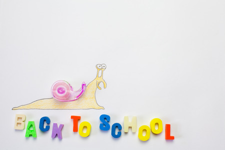 slug: Slug Drawing going to school. Stock Photo
