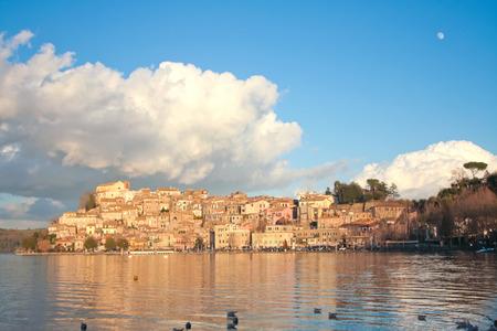 Anguillara Sabazia village and lake view.