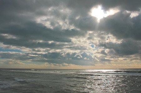 wheater: Seascape in a cloudy day of winter. Stock Photo