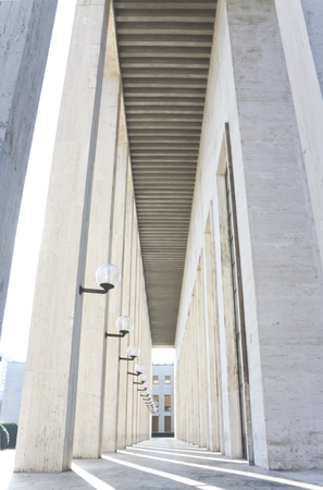 colonnade: Modern Colonnade in architecture. Stock Photo