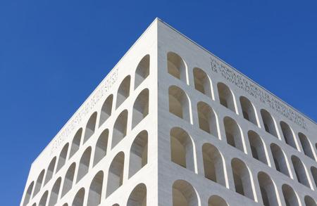 Rome, Italy: framing corner of Palazzo della Civilta in Rome in midday light.