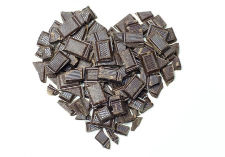 chunks: Heart shaped chocolate chunks. Stock Photo