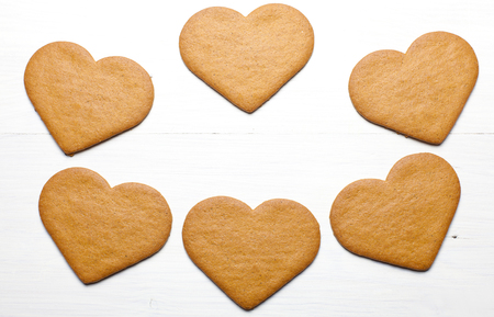 scattered in heart shaped: Heart shaped Gingerbread cookies (scattered group).