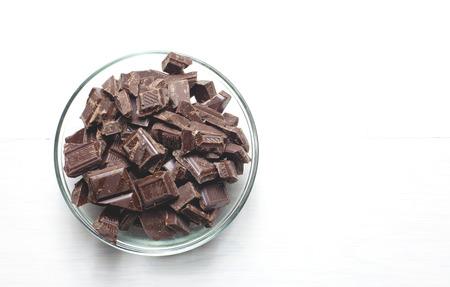 chunks: chocolate chunks in a bowl Stock Photo