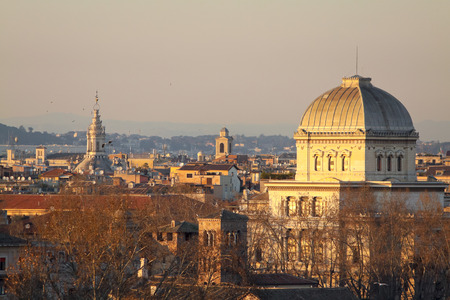 View of Rome roofs: jewish synagogue, Spire of Saint Ivo alla Sapienza, Towerbell of Saint Augustine Church.